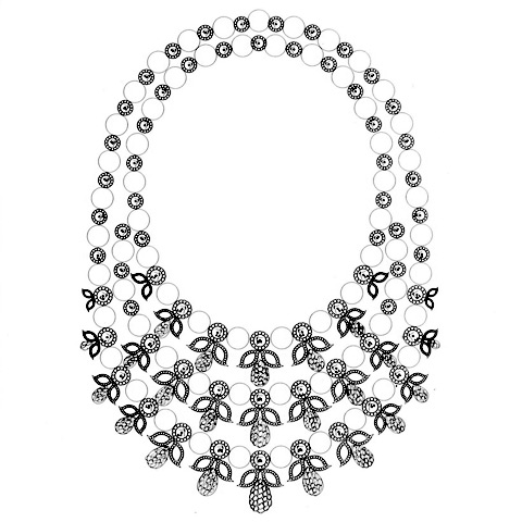 Pearls and diamonds necklace sketch