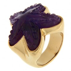 Amethyst starfish ring