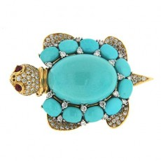 Turquoise Turtle Brooch