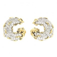 Circle and Tear Drop Diamond Earrings