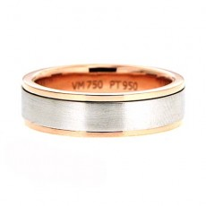 Two Tone Step Cut Wedding Band