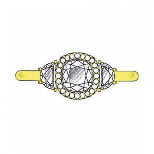 Half moon side stones on a yellow gold setting