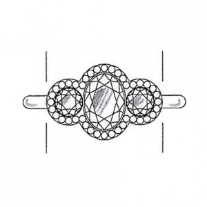 Round cut diamond side stones on a white gold setting