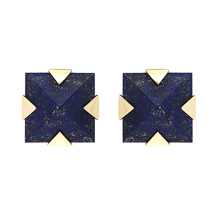 Square Lapis and Gold Earrings