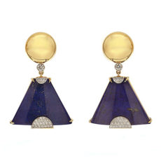 Lapis lazuli gold earrings with diamonds