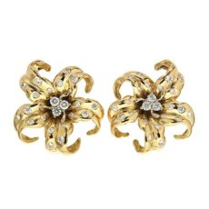 Gold & Platinum Diamond Pave Earrings