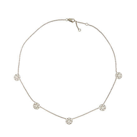 Five Cluster Diamond Necklace