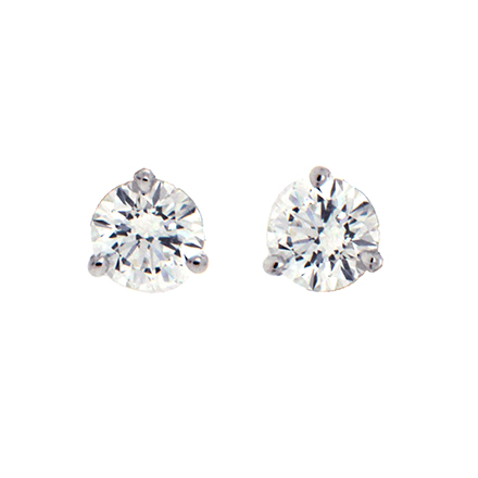 3 Prong Round Diamond Stud Earrings