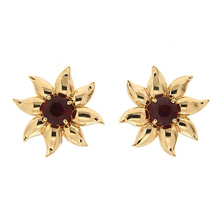 Gold Flower Leaf Jackets Ruby Earrings