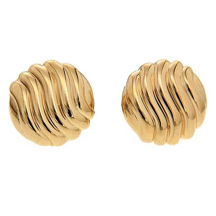 Gold Earrings with Wavy Pattern