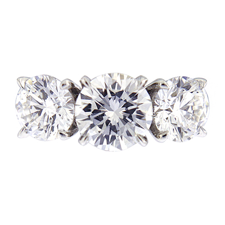 Round and Tapered Baguette Diamond Ring