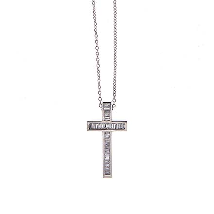 Baguette Cross Diamond Pendant