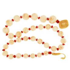 Angel Skin Coral with Red Coral Necklace