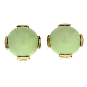 Round Cabochon Chrysoprase Earrings