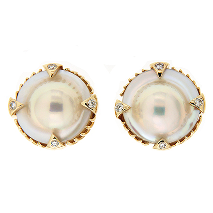 Blister Pearl Earrings with Diamonds