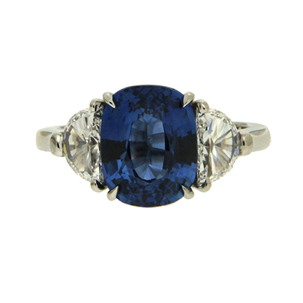 Oval Sapphire and Half Moon Diamond Ring