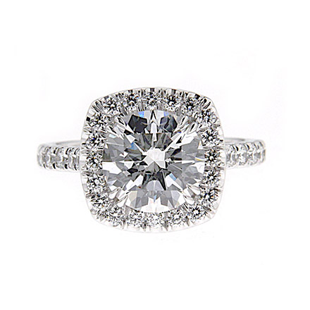 Pave Set Diamonds Halo Engagement Ring