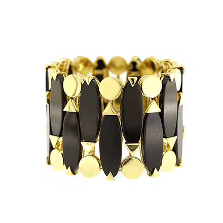 Black Jade and Yellow Gold Geometric Bracelet