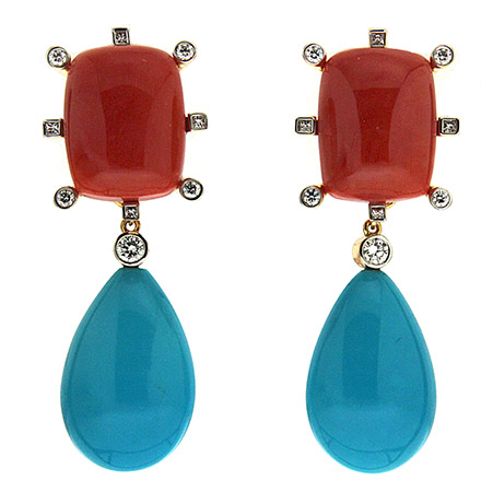 Coral and Turquoise Drop Earrings