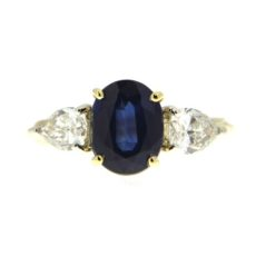 Sapphire with Side Stones Ring