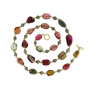 Multi-Color Tourmaline Necklace with Pearls
