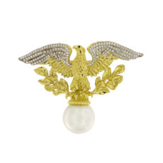 Eagle on Pearl with Diamond Wings Brooch
