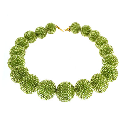 Woven Peridot Ball Necklace