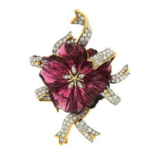 Pink Tourmaline Flower Brooch