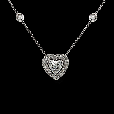 Heart Diamond Necklace with Diamond Chain