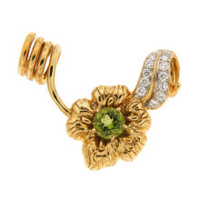 Peridot and Diamond Flower Pendant