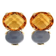 Citrine and Chalcedony Earrings