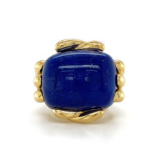 Fluted Cushion Criss Cross Lapis Ring